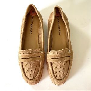 Lucky Brand Sz 7 Perforated Caylon Suede Flats New